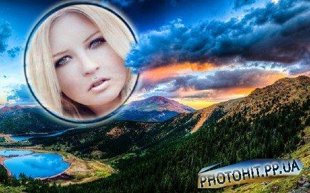 Фоторамка psd - Красивый закат среди гор