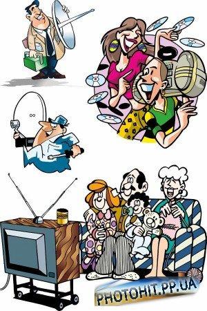 ТВ, медиа, спутниковые антенны (вектор)